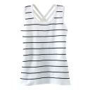 Striped Back Cross Strap White Knitting Tanks