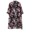 Black Background Flower 1/2 Sleeve Chiffon Midi Shirt