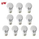 10Pcs Silver 300lm E27 5W  Warm White Light LED Bulb