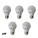 Cool White Light LED Globe Bulbs E27 3W (5 Pcs )