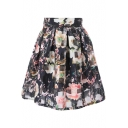 Black&White Checker&Pink Rose Print Organza Pleated Skirt