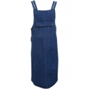 Dark Blue Double Straps Overall Style Denim Dress with Big Single Pocket