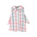 Pink&Blue Big Plaid Cold Shoulder Crop Shirt