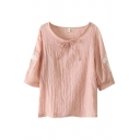 Pink 3/4 Sleeve Flower Embroidered Bow Neck Vintage Blouse