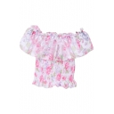 Pink Flora Print Boat Neck Ruffle Layer Organza Blouse