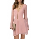 Plain Plunge Neck Long Sleeve Chiffon Dress with Cutouts