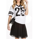 Contrast Trim Stripe&Number Print Short Sleeve T-shirt
