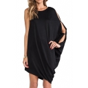 One-Shoulder Cutout Sleeve Black Mini Column Dress