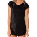 Black Leopard Print Velvet T-Shirt