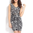 Print V-Neck Sleeveless Bodycon Mini Dress with Belt