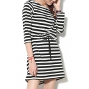 Modal Stripes Print Drawstring Waist 1/2 Sleeve Dress
