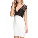 Lace Crochet V-Neck Sleeveless Open Back Fitted Dress