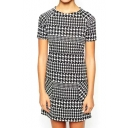 Short Sleeve Houndstooth Print Slim Dress
