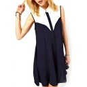 Color Block Lapel Single Breast Sleeveless Chiffon Dress