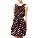Chocolate Background White Heart Print Cute Style Sleeveless Dress