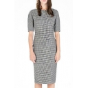 Houndstooth Boat Neck Short Sleeve Fitted Mid Dress