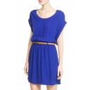 Plain Chiffon Round Neck Belted Dress
