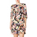 Bright Floral Half Sleeve Round Neck Dress