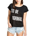 Black Short Sleeve Letter Print Crop T-Shirt