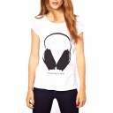 White Short Sleeve Headphone Print Round Neck T-Shirt