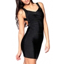 Black Strap Open Back Bandage Dress