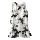 White Background Black Ink Color Flower Ruffle Hem Tanks Dress