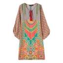 Drawstring Round Neck Tribal Geometry Pattern Shift Dress