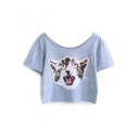 Gray Cat Print Crop Short Sleeve Tee