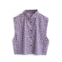 Purple Print Sleeveless Point Collar Crop Shirt