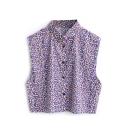 Purple Print Sleeveless Point Collar Crop Shirt