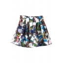 3D Butterfly Print White Background Mini Pleated Skirt