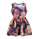 Medal&Stripe&Flower Print Tanks A-line Dress