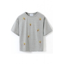 Gray Short Sleeve Simpson Embroidered Crop T-Shirt