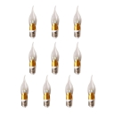 10Pcs 240lm E27 Candle Bulb 3W Golden 360° Warm White