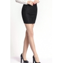 Black Lace Flower Bodycon Office Lady Skirt