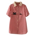 Red Short Sleeve Gingham Kitty Applique Lace Lapel Shirt