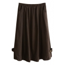 Brown Button Embellish Mori Girl Linen Midi Skirt