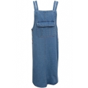 Blue Double Straps Overall Style Denim Dress with Big Single Pocket