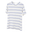 Blue Thin Stripe Short Sleeve Basic T-Shirt