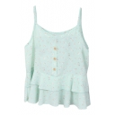 Light Green Flora Button Ruffle Embellish Chiffon Camis