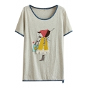 Light Gray Cartoon Little Girl Print Midi T-Shirt