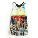 Yellow NYC Scenery Print Back Mesh Panel Midi Tanks