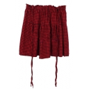 Red Gingham Pattern Mini Suspender Skirt