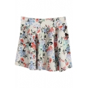 Apricot Background Fresh Colorful Flora Skater Skirt