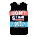 Black Sleeveless Comic Slogan Print T-Shirt