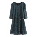 Plain Round Neck 1/2 Sleeve Lace Crochet Dress with Belt