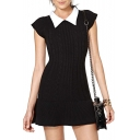 Contrast Point Collar Cap Sleeve Fitted Knitted Mini Dress