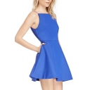Cute&Sexy Style Deep V-Back Bateau Neckline A-line Mini Dress
