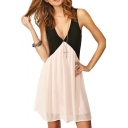 Pink&Black Panel Plunge Neck Tank Chiffon Dress
