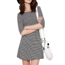 Mini Houndstooth Pattern Round Neck 1/2 Sleeve A-line Dress
